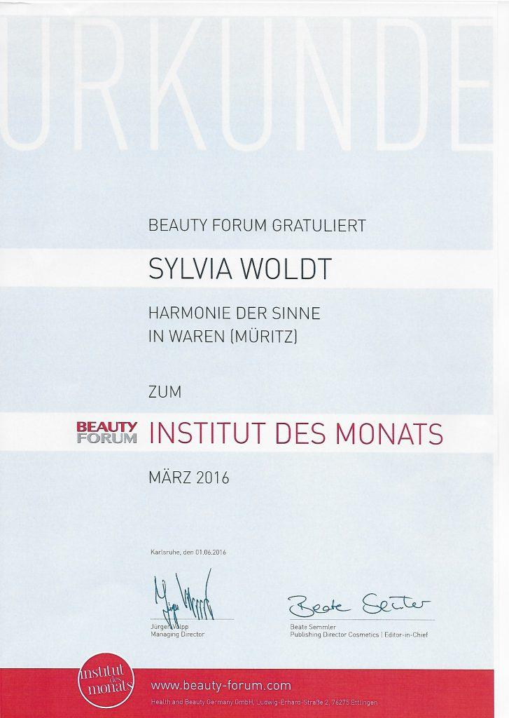 Institut des Monats 2016